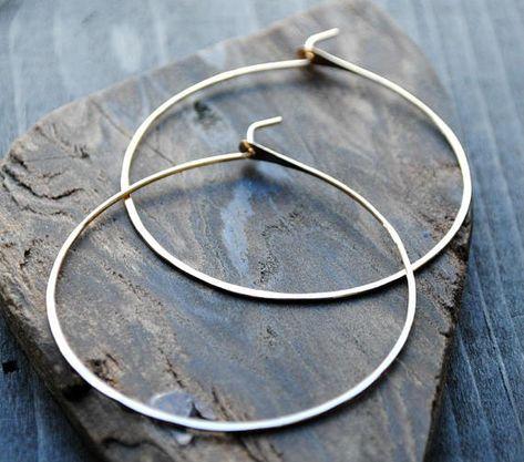 Thin Gold Hoop Earrings 14k Hoops Lightweight Medium 2 Inch Large 5