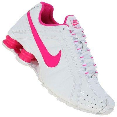 nike shox junior rosa e branco
