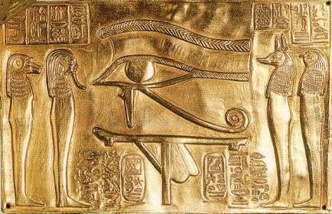 Eye of Horus, Golden Left Eye of Horus ::: Other Egyptian Gods are surrounding it