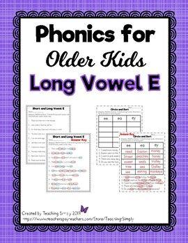 Phonics For Older Kids Long Vowel E Distance Learning Packet Phonics Long Vowel E Elementary Spelling Phonics worksheets for older students