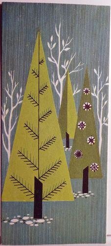 60s Mid Century Modern Trees Vintage Card | prints,illustration ...