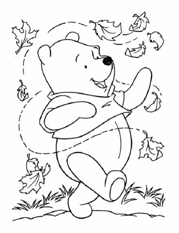 Pooh And Leaves Coloring Page Fall Coloring Pages Disney