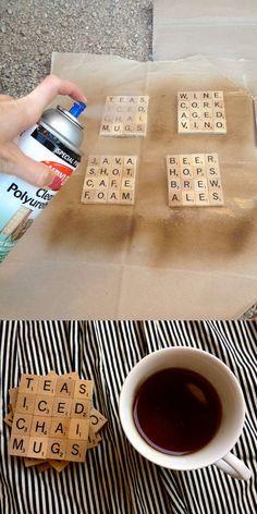 Scrabble Coasters-DIY Coasters, man cave, masculine decor, decorating for guys Scrabble Coasters, Scrabble Tile Crafts, Scrabble Letters, Diy Coasters, Photo Tile Coasters, Bottle Cap Coasters, Homemade Coasters, Scrabble Ornaments, Coaster Crafts