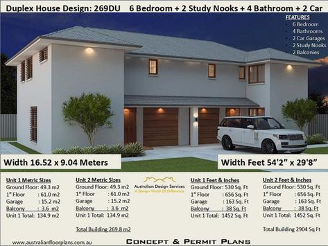 6 Bedrooms Duplex House Plan 269 8 M2 Or 2904 Sq Foot Etsy Duplex House Plans Duplex House House Plans For Sale
