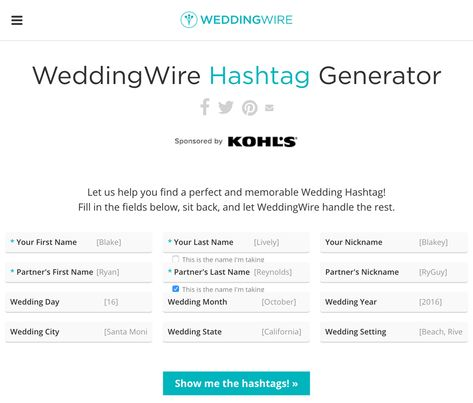 Wedding Hashtag Generator The Knot.Pinterest