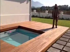 Wooden Sliding Deck Create Safe Playing Area For Kids At Swimming Pool Easy To Open And Cover Your Pool Transf In 2020 Swimming Pools Wooden Pool Deck Hot Tub Cover