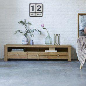 Meuble Tv En Teck 170 Cm Meubles De Rangement Pour Salons Tikamoon Meuble Tv Table Basse Teck Meuble Tv Bois