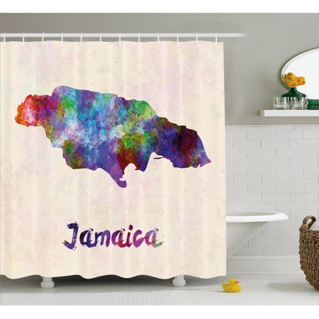 Jamaican Shower Curtain Abstract Watercolor Map Of Jamaica Psychedelic Inspirations Country Brush Effect Country Bathroom Bathroom Sets Printed Shower Curtain
