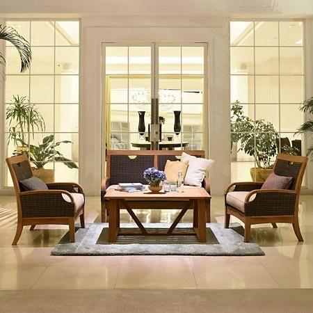 Joshua Lane Teak And Wicker 4 Piece Chat Set Sam S Club Deep Seating Seating Patio Furniture Sets