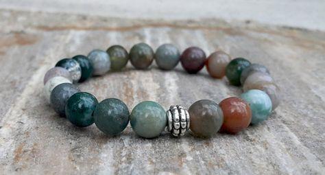 Indian Agate Bracelet, Healing Bracelet, Mala Bracelet, Energy Bracelet, Spiritual Jewelry, Yoga Bracelet, Beaded Boho Bracelet, Wrist Mala