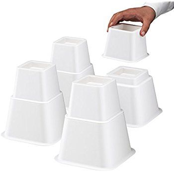 Amazon Com Home It White Adjustable Bed Risers Or Furniture Riser