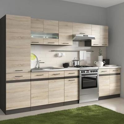 Junona Cuisine Complete Avec Led Et Plan De Travail L 2m40 Decor Sonoma Cuisine Complete Cuisines Design Et Meuble Sous Evier
