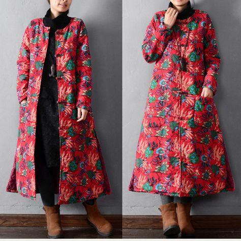 BUYKUD-Women  winter long cotton padded coat - Buykud