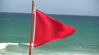 Red Flag Indicating That It S Forbidden To Go Swimming For The Stormy Sea Stormy Sea Beach Flags Red Design