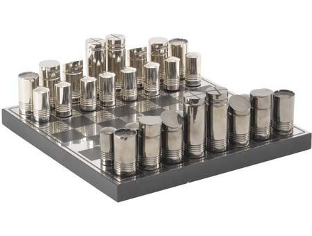 Steel Chess Set black and silver metal chess set. designer unknown | modern chess