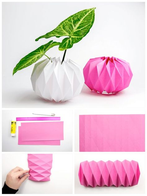 Spruce Up Your Plants with Origami Pot Covers! #origami #diy #pot #cover #tutorial