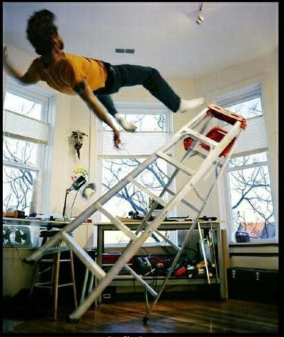 Image result for man looking down ladder scared