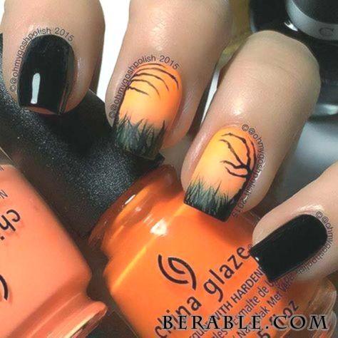 Acrylic Black Gel Gel Nails Orange Halloween Nails Acrylic Black Gel Gel Nails Orange Hal Herbstliches Nageldesign Nagelideen Halloween Nageldesign