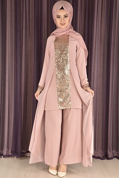 Modamerve Pul Payetli Tunik Pantolon Ikili Takim Pudra Rzg 6623 The Dress Tunik Dugun