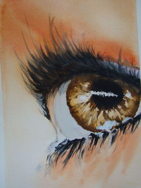OEIL marron avec larmes. Aquarelle   Peinture