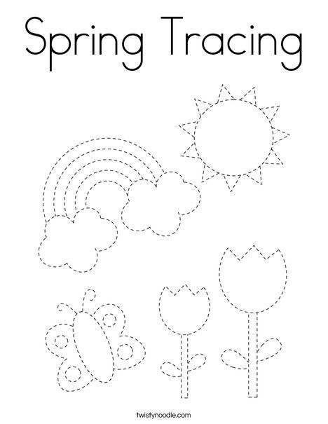 Spring Tracing Coloring Page Twisty Noodle Preschool Tracing Tracing Worksheets Preschool Pre Writing Activities Preschool tracing worksheets free