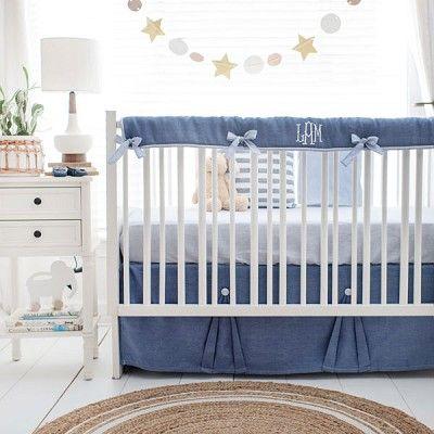 Navy Blue Crib Bedding Cape Cod In 2020 Blue Crib Bedding Linen Crib Bedding Linen Baby Bedding