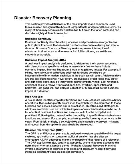 Database Disaster Recovery Plan Example HR - SPECIAL PROJECTS - recovery plan