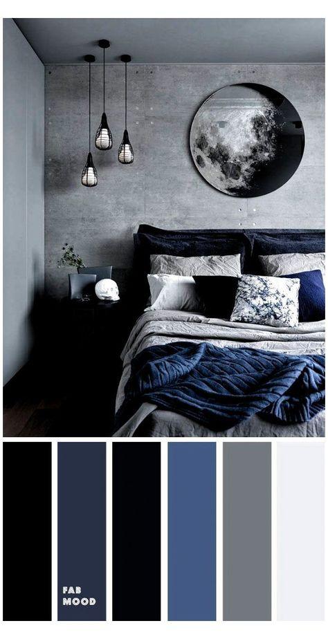 Grey Bedroom Colors, Dark Blue Bedrooms, Bedroom Colour Palette, Black Rooms, Bedroom Color Schemes, Dark Cozy Bedroom, Bedroom Inspo Grey, Black And Grey Bedroom, Peaceful Bedroom