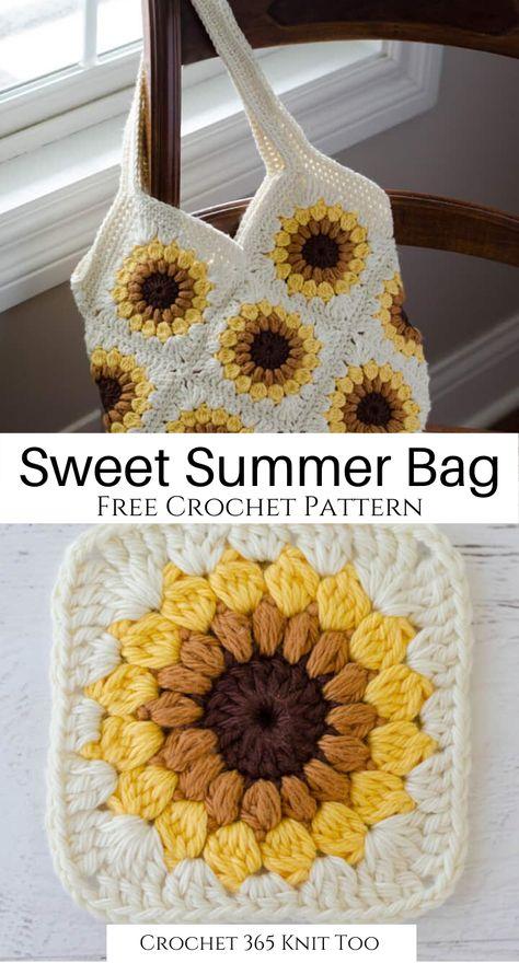 Sweet Summer Sunflower Bag – Crochet 365 Knit Too – Hakeln Bag Crochet, Crochet Purses, Crochet Handbags, Crochet Gifts, Cute Crochet, Crotchet Bags, Crochet Collar, Modern Crochet, Crochet Clothes