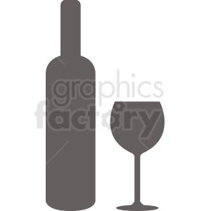 Bottle Of Wine With Glass Silhouette Vector Silhouette Vector Clip Art Wine Bottle
