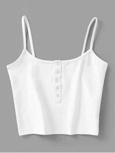 This tank features a snap button front in a cropped length, suits for the casual, going out, beach and summer occasion. Style: Casual  Shirt Length: Short  Collar: Spaghetti Strap  Pattern Type: Solid  Thickness: Standard  Material: Cotton,Polyester  Weight: 0.1500kg  Package: 1 x Tank Top