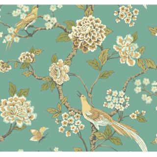 York Wallcoverings Af1901 N A 60 75 Square Foot Fanciful Pre Pasted Non Woven Wallpaper Floral Wallpaper York Wallpaper Chinoiserie Wallpaper