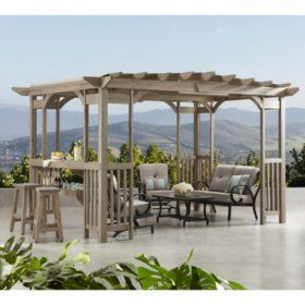 Buy Charleston 14 X 10 Pergola With Sunshade Pergolas At Samsclub Com Outdoor Pergola Pergola Plans Pergola Patio