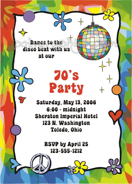 70s party invite Decade Birthday Ideas 60s 70s diner