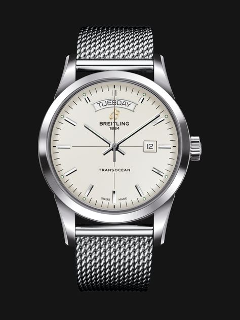 Transocean Day & Date watch by Breitling - sleek stainless steel case, white silver dial and mesh steel bracelet