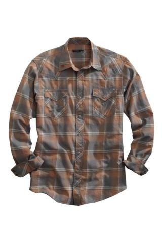 Men's Orange Harvest Plaid Tin Haul Collection Western Wear
