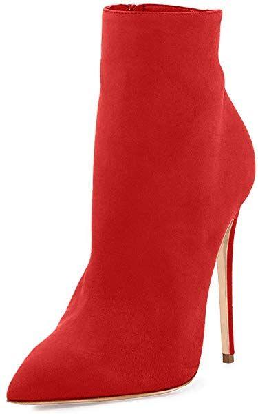 5ba890993427b Amazon.com | Joogo Pointed Toe Ankle Boots Size Zipper Stiletto High ...