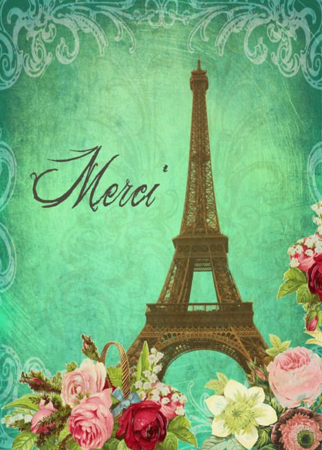 Merci Thank You In French Eiffel Tower Paris Vintage Look Card Ad Affiliate Eiffel French Merci Tower Good Bye In French Eiffel Tower Eiffel