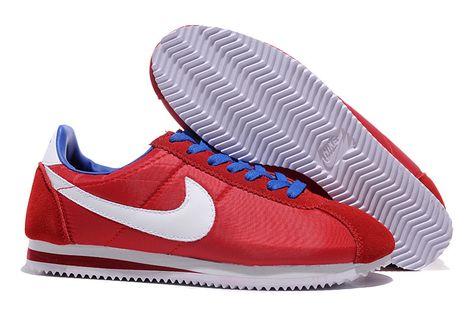 classic fit 45e80 3885f Meilleur Authentique Nike Cortez Nylon Rouge Blanc Bleu Homme