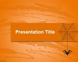 Web & Spider PowerPoint template is an orange background for PowerPoint presentations that you can download with a spider illustration in the slide design