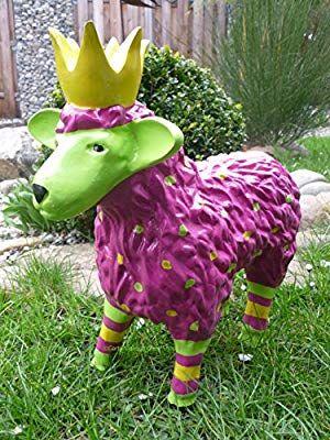 Gartenfigur Lustiges Buntes Schaf Mit Krone Garten Deko Tier Lamm Konigsschaf In Brombeer Amazon De Garten Gartenfiguren Garten Deko Garten