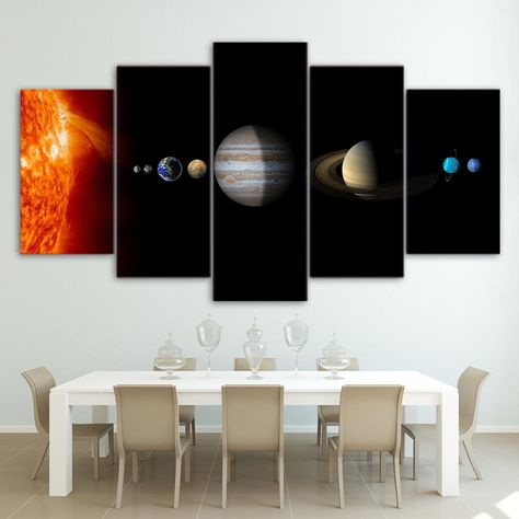 Solar System Sun & Planets Space Astronomy Framed 5 Piece Canvas Wall Art Painting Wallpaper Poster Picture Print Photo Decor - Medium / With Framed