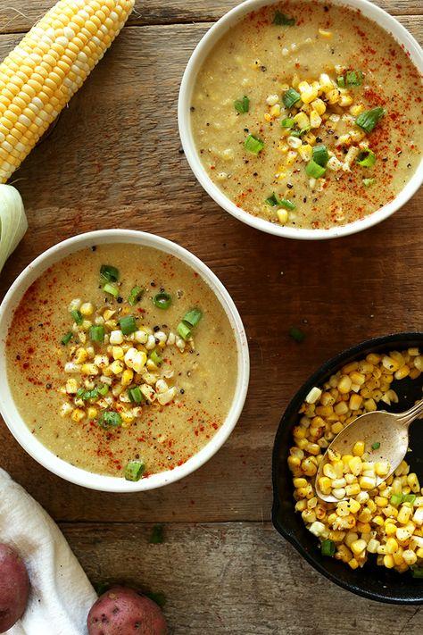 Summer Vegan Corn Chowder Soup! 9 ingredients, 30 minute, SO savory and easy #vegan #glutenfree #soup #cornchowder #minimalistbaker