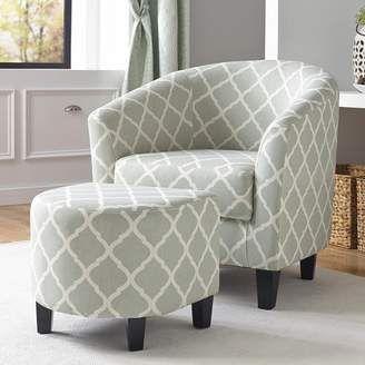 Pulaski Quatrefoil Upholstered Accent Chair Ottoman 2 Piece Set