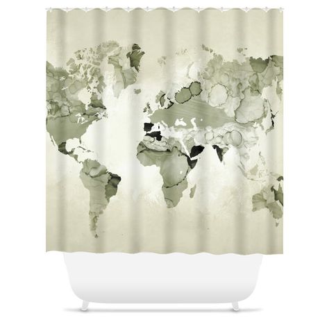 Shower Curtains World Map Shower Curtain Light Olive Green