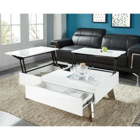 Zanzibar Table Basse Transformable Style Contemporain Laque Blanc Brillant Avec Pieds Chromes L 110 X L 75 Cm Table Basse Transformable Table Basse Table Basse Blanc Laque