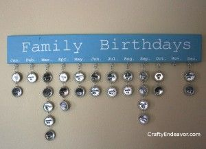 Birthday Calendar - flattened bottle caps, metal stamping set
