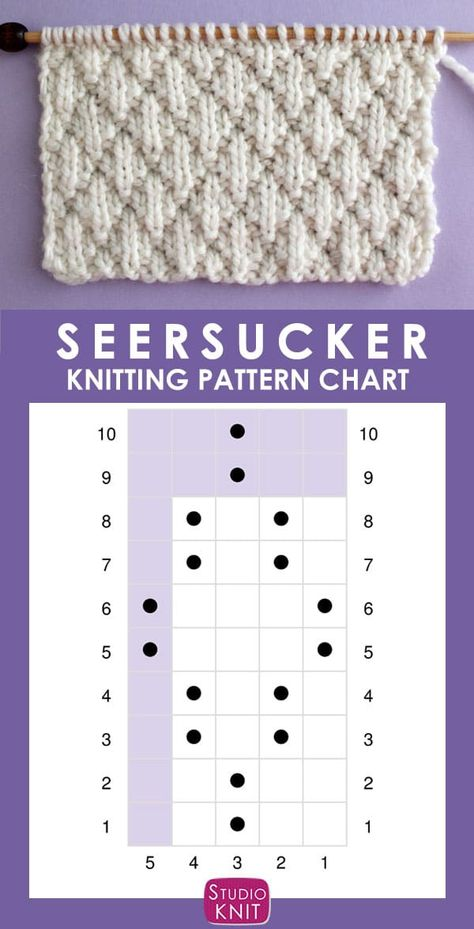The Seersucker Stitch Knitting Pattern creates textured rows of raised puckered diamonds with an easy 8-Row Repeat of knits and purls.
