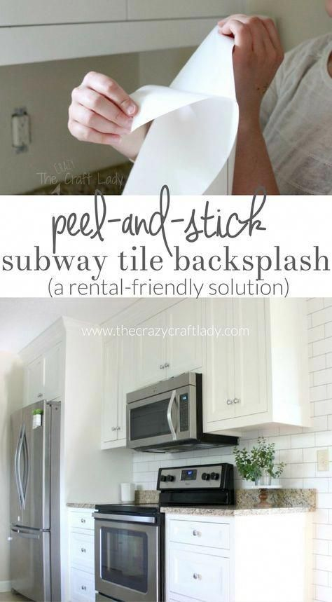 Make A White Subway Tile Temporary Backsplash With Removable Wallpaper Follow This Tutorial For A Smooth P Rental Kitchen Unique Home Decor Rental Decorating