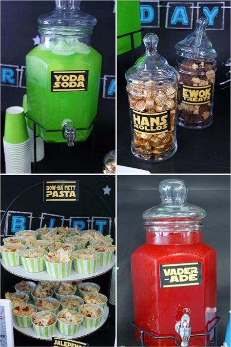 Yes, these are for a birthday party… but who says you can't have a little Yoda Soda or Vader-ade at your nuptials? Be warned after seeing this 7 year old b-day you will want one of your very own! Thanks a lot . Star Wars Party Food, Star Wars Food, Star Wars Themed Food, Girls Star Wars Party, Girls Star Wars Cake, Ewok, Birthday Star, Birthday Ideas, 40th Birthday Parties